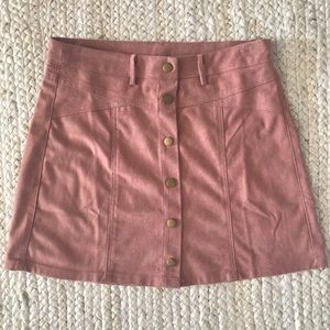 Dusty rose suede mini skirt with snaps